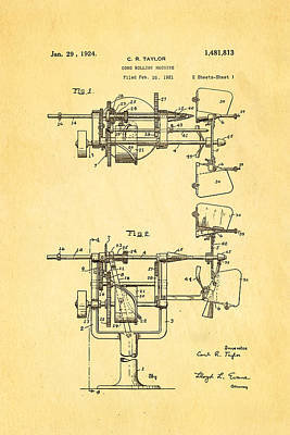 Photograph - Taylor Cone Rolling Machine Patent Art 1921 by Ian Monk