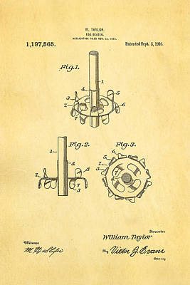Taylor Egg Beater Patent Art 1916 Art Print by Ian Monk