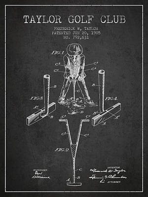 Ball Digital Art - Taylor Golf Club Patent Drawing From 1905 - Dark by Aged Pixel