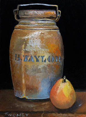Still Life Royalty-Free and Rights-Managed Images - Taylor Jug With Pear by Catherine Twomey