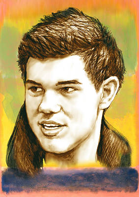 Novel Drawing - Taylor Lautner - Stylised Drawing Art Poster by Kim Wang