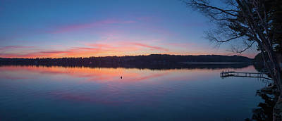 Androscoggin Photograph - Taylor Pond With Dock At Sunset by Panoramic Images