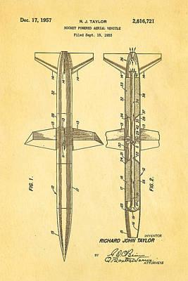 Taylor Rocket Engine Patent Art 1957 Print by Ian Monk