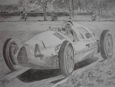 Tazio Nuvolari Art Print by Jose Mendez