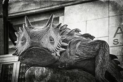 Nighttime Street Photography - TCU Horned Frog BW by Joan Carroll