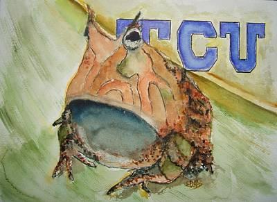 Tcu Horned Frog Art Print by Elaine Duras