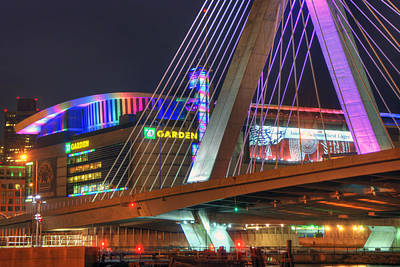 Photograph - Td Garden And The Zakim Bridge In Pink by Joann Vitali
