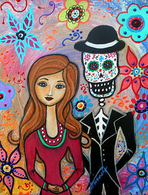 Wedding Painting - Te Amo Couple Day Of The Dead by Pristine Cartera Turkus