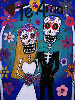 Bride And Groom Painting - Te Amo Wedding Dia De Los Muertos by Pristine Cartera Turkus