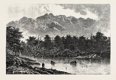 New Zealand Drawing - Te Anau One Of The New Zealand Lakes Mount Oil by New Zealand School