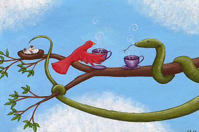 Boa Constrictor Drawing - Tea And Eggs by Christy Beckwith