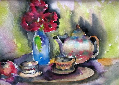 Teapot Painting - Tea And Flowers by Lucille  Valentino