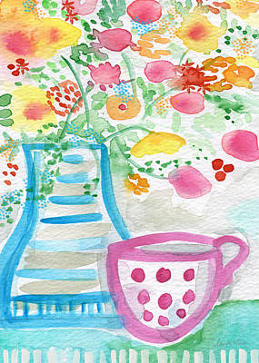 Watercolor Flower Painting - Tea And Fresh Flowers- Whimsical Floral Painting by Linda Woods