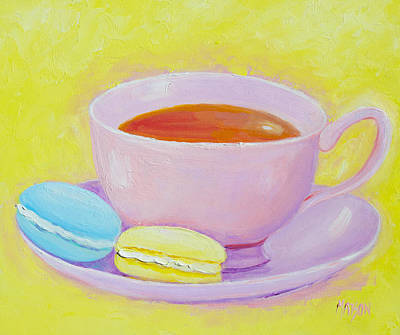 Tea And Coffee Painting - Tea And Macaroons by Jan Matson