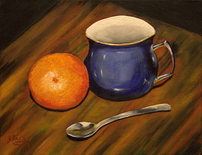 Snack Time Painting - Tea And Oranges by Julia Robinson