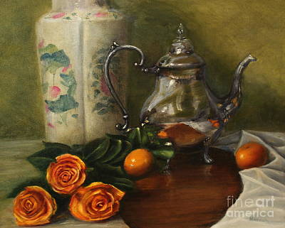 Silver Tea Pot Painting - Tea And Roses by Darnell Nicovich