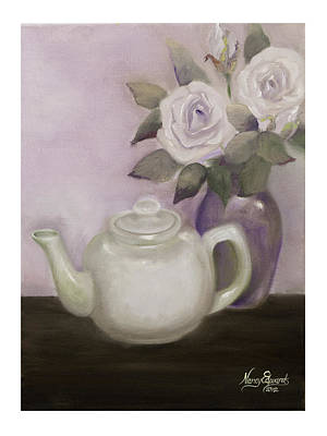 Tea And Roses Art Print by Nancy Edwards