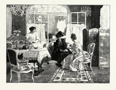 Tea And Scandal, In The Salon Des Champs Elysees Art Print by Gelhay, Edouard (b.1856), French