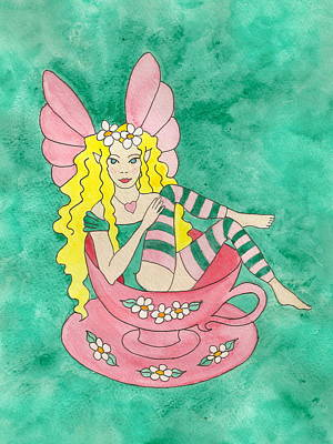 Heart Necklace Painting - Tea Cup Fairy by Laurie Anderson
