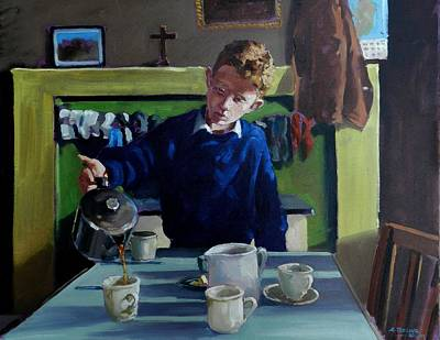 Painting - Tea For Three  Me Da Me Ma And Me by Robert Teeling