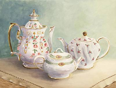 Teapot Painting - Tea For Three by Patricia Crowley