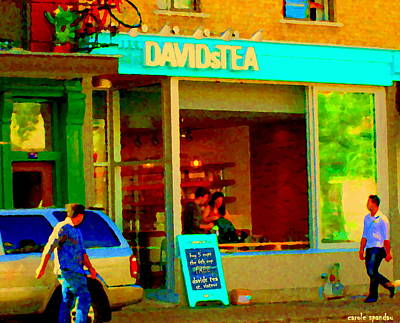 Tea For Two Painting - Tea For Two Davids Tea Shop Rue St Viateur Cafe Scene Montreal Restaurants Art Carole Spandau by Carole Spandau