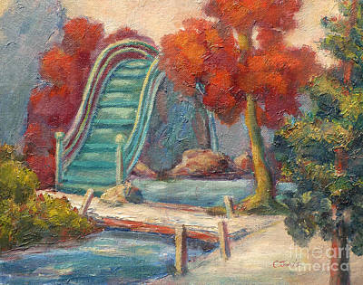 Painting - Tea Garden Bridge by Carolyn Jarvis