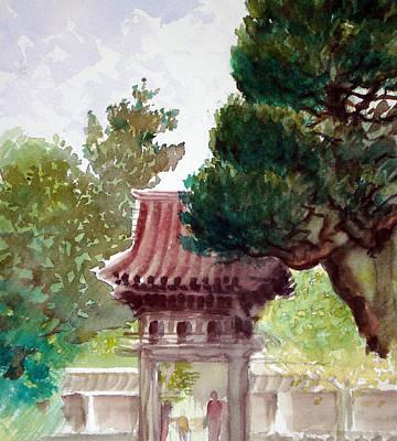 Japanese Tea Garden Painting - Tea Garden Entrance by Karen Coggeshall