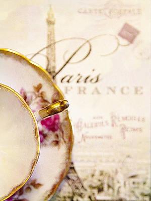 Tea In Paris Art Print by Rebecca Cozart