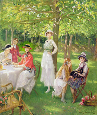 Sit-ins Painting - Tea In The Garden by Jules Cayron