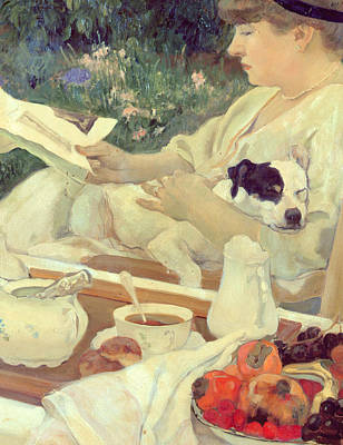 Oval Painting - Tea In The Garden by Leon Georges Carre