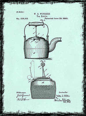 Grinder Photograph - Tea Kettle Patent 1880 by Mark Rogan