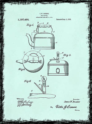 Grinders Photograph - Tea Kettle Patent 1916 by Mark Rogan
