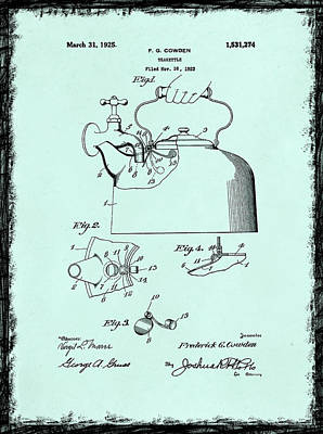 Grinder Photograph - Tea Kettle Patent 1923 by Mark Rogan