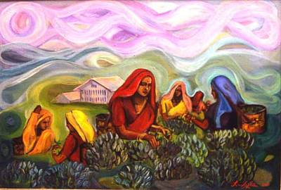 Painting - Tea Leaf Pickers by Renuka Pillai