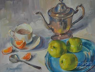 Silver Tea Pot Painting - Tea Party by Barbara Daggett