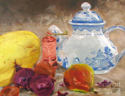 Painting - Tea Pot And Spice Grinder by Janet Poirier