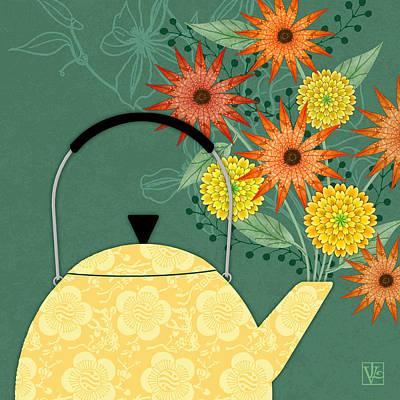Tea Pot Glory Art Print by Valerie Drake Lesiak