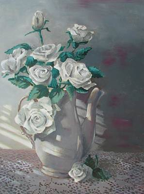 Painting - Tea Pot Roses by Tony Caviston