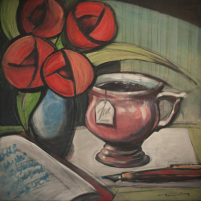 Painting - Tea Rose Journal by Tim Nyberg
