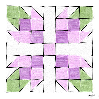 Block Quilts Painting - Tea Rose Quilt Block by Sandy MacGowan