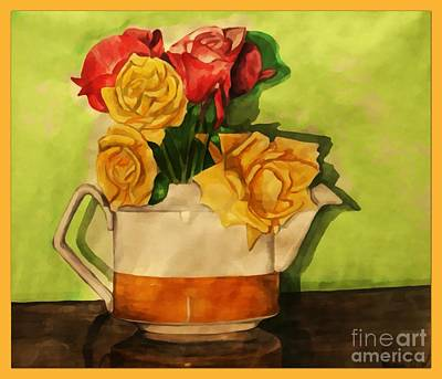 Painting - Tea Roses Bordered by Joan-Violet Stretch