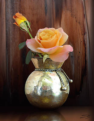 Painting - Tea Roses In Brass Vase by IM Spadecaller