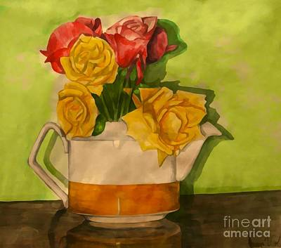 Painting - Tea Roses by Joan-Violet Stretch