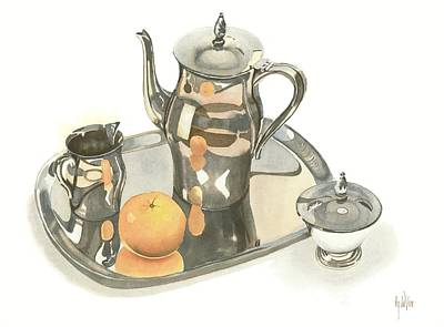 Stillife Painting - Tea Service With Orange by Kip DeVore