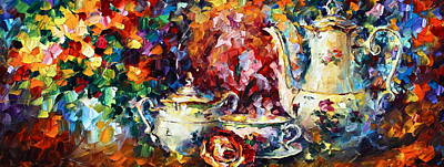 Teapot Painting - Tea Time 2 by Leonid Afremov