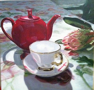 Teapot Painting - Tea Time by Deanne Salter