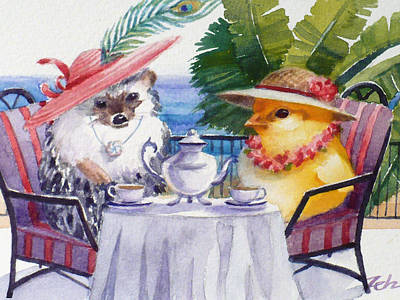 Tea Time For A Baby Chick And Hedgehog Art Print