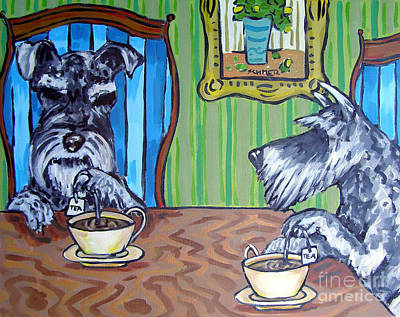Painting - Tea Time For Schnauzers by Jay  Schmetz