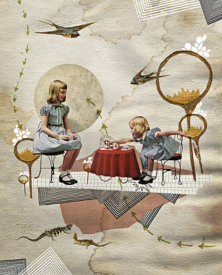 Swallow Mixed Media - Tea Time by Heather Landis